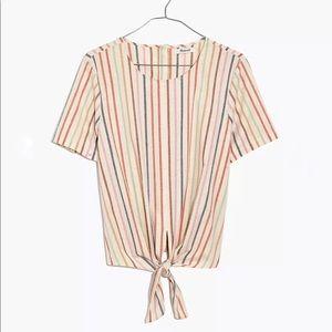 Madewell Button-Back Tie Tee in Rainbow Stripe